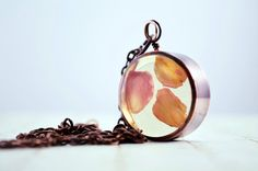 Charming rose petals in a copper pipe bezel by UxorBoutique, $11.00