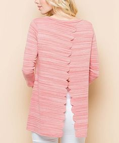 Coral Scallop-Detail Slit-Back Top - Plus Too #zulily #zulilyfinds