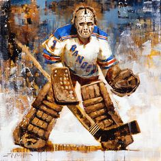 Canvas print wall art of Ed Giacomin of the New York Rangers. Multiple size and framing options. www.jrmhockeyart.com