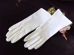 1950s Mid Length Gloves Hand Sewn & Embroidered in White for Bride Formal Wear by EyeSpyGoods on Etsy