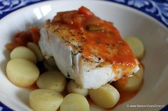 Grilled Cod with creole fishsauce and boiled patatoes - Bakken Zoals Oma