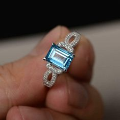 2.0 Ct Emerald Cut Blue Topaz Solitaire Engagement Ring 14K White Gold Finish | eBay