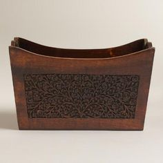 One of my favorite discoveries at WorldMarket.com: Carved Wood Magazine Holder
