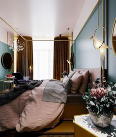 Art deco, crystal and gold chandeliers are some of the hypothesis to get dramatic and sculptural master bedroom décors. Bedroom Chandeliers are perfect accessories to add drama to any bedroom interior. Bedroom Goals, Bedroom Inspo, Bedroom Colors, Dream Bedroom, Home Decor Bedroom, Modern Bedroom, Master Bedroom, Bedroom Ideas, Coral Bedroom