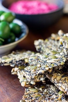and moreish home made five seed crackers are a tasty snack by themselves or with your favourite dip, perfect in school lunchboxes or to serve alongside drinks. Raw Food Recipes, Low Carb Recipes, Vegetarian Recipes, Cooking Recipes, Healthy Recipes, Free Recipes, Vegan Snacks, Yummy Snacks, Healthy Snacks