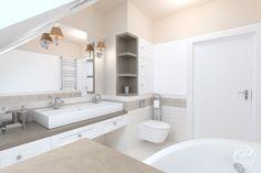 Dom w stylu klasycznym  Komfortowa i funkcjonalna łazienka w kolorze białym.  Progetti Architektura