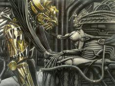 #Science_fiction #biomechanics #aliens #airbrush_art  By Ernest Dawson