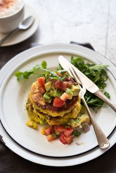 Closeup of Bill Granger's Corn Fritters with Avocado Salsa