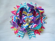 Chevron Boutique Hair Bow by AllThingsGirlyBows on Etsy, $9.00