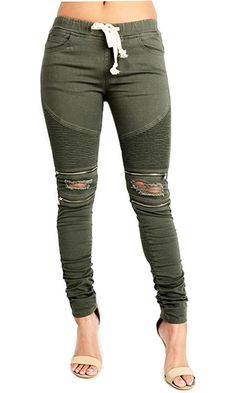 SWEET BOHEMIAN TWILL JOGGER PANTS WITH COMFORT STRETCH, SMALL, BIKER OLIVE #777 Best Price