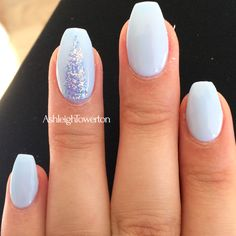 Creekside baby blue sparkly Shellac nails