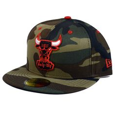 CHICAGO BULLS Woodland Camo Pop 59FIFTY Fitted Hat Cap