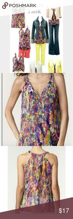 CABI PETALS TANK Excellent condition. Sheer material. Clasps in front. CAbi Tops