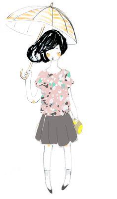 nono girl with umbrella, a sketch illustrating recent ideas.