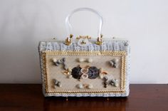 Vintage Box Purse  White Woven Purse with Sea Shell by awildtonic, $45.00