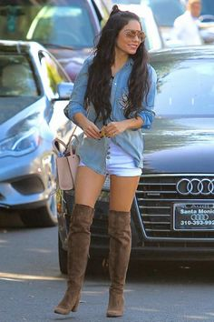 Vanessa Hudgens wearing Saint Laurent Babies Over-the-Knee Suede Boots, Rebecca Minkoff Mini Mab Tote in Latte, Mother Denim x Jacquie Aiche Chambray Shirt, Valentino Oversized Sunglasses and One Teaspoon High Rise Shorts