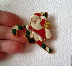 Купить Новогодняя брошь Дед Мороз Санта Клаус США 1780-е - винтажная брошь