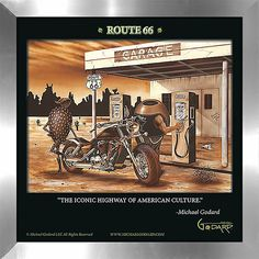 "FramedCanvasArt.com Michael Godard ""Historic Route 66"" Fine Framed & Canvassed Wall Art"