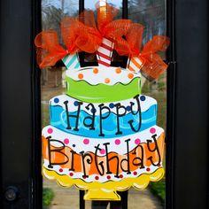 Happy Birthday Sign Birthday Door Decor Happy by LooLeighsCharm, $48.00