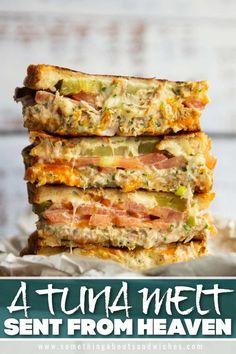 Tuna Sandwich Recipes, Tuna Melt Sandwich, Tuna Melts, Tuna Recipes, Soup And Sandwich, Brunch Recipes, Seafood Recipes, Cooking Recipes, Tuna Melt Recipe