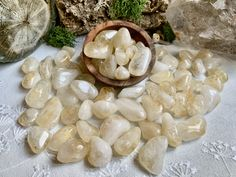 Citrine tumbled stones - Healing Crystals and Healing Stones by CastleRocksCornwall on Etsy Crystal Healing Stones, Citrine Crystal, Crystals And Gemstones, Stones And Crystals, Crystal Decor, Crystal Meanings, Tumbled Stones, Etsy, Food