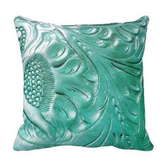 Tooled Western Turquoise Leather Look Throw Pillows http://www.zazzle.com/tooled_western_turquoise_leather_look_pillow-189224640526373078?rf=238312613581490875