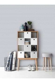Wallpaper by ellos Harriet-tapetti, harmaa