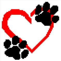 PAW PRINTS & HEART c2c graph pattern with written by angelamosley
