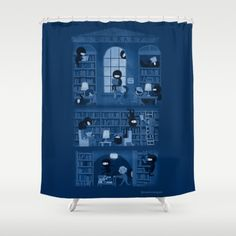 Silence in the Library Shower Curtain