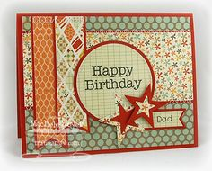 "MFT Stamps: My Favorite Things ""Big Greetings"" and ""First Place Award Ribbon""    Paper: Prism Desert Coral Dark, Pink Paislee ""Prairie Hill"" (6×6)"