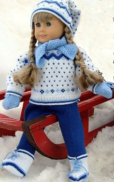 Beautiful knits for dolls.  I hope I eventually have a granddaughter (or several) to play with my daughters' American Girl dolls because then I can knit all these cute clothes!!