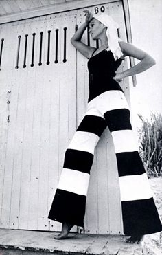 1969. Not everyone could pull off wide stripes, but she looks amazing!