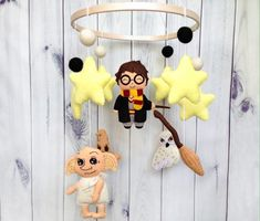 Your place to buy and sell all things handmade Draco Malfoy, Hermione, Hedwig, Bellatrix, Luna Lovegood, Baby Shower Gifts, Baby Gifts, Owl Mobile, Baby Mobile Felt