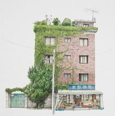 """archatlas: """"The Art of Me Kyeoung Lee South Korean artist Me Kyeoung Lee sees beauty even in mundane everyday objects. Her sketches of local convenience stores is a charming and skillful take on what other people might miss out. Lee has been. Watercolor Architecture, Architecture Design, Japanese Watercolor, Watercolour, Urban Sketchers, Korean Artist, South Korea, Concept Art, Scenery"""