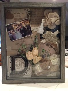 A shadow box is s great way to display some of your wedding favorites. I made this for my daughter after hers