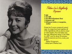 me ~ Mayberry Thelma Lou's Neighborly Popovers Recipe Postcard Retro Recipes, Old Recipes, Cookbook Recipes, Vintage Recipes, Bread Recipes, Dessert Recipes, Cooking Recipes, Recipies, 1950s Recipes
