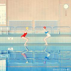 """色调赞_//@英国文艺那些事儿:完整图文:泳池里的""""机械""""少女 - 微博速递"""