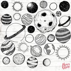 Planets Clipart Hand Drawn Planet Clipart Vector Tattoo