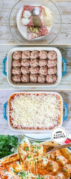 Meatball Parmesan Bake in Casserole is SO EASY and so crazy delicious! It is the perfect for Keto recipe or low carb diet recipe since the tender meatballs are made with ground beef, ground pork, and no carbs! Ground Beef Recipes For Dinner, Dinner With Ground Beef, Ground Pork Recipes Easy, Baked Dinner Recipes, Ground Beef Recepies, Dinner Ideas With Hamburger, Keto Recipe With Ground Beef, Dinner Ideas For Family, Minced Beef Recipes Easy