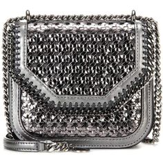 Stella McCartney Falabella Box Mini Shoulder Bag (1 355 AUD) ❤ liked on Polyvore featuring bags, handbags, shoulder bags, silver, silver shoulder bag, shoulder handbags, miniature purse, silver purse and silver shoulder handbags