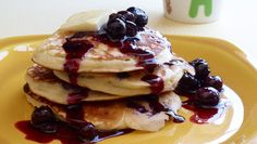 Blueberry Pancakes with Blueberry Syrup - Jump-start your day with these pancakes. Maple syrup?  How about blueberry instead?