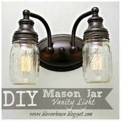 DIY Mason Jar Vanity Light - Hi y'all! Despite having some technical difficulties this week (sometimes computers get saucy and put up a fight), I'm so excited…