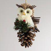 Natural Fiber Owl on Pinecone Ornament