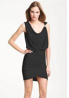 Short Drapped Chiffon Sheath Cowl Neckline Sleeveless Dress