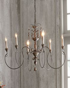 Chandelier made of steel and polyresin. Vintage-copper finish. Uses six 60-watt…