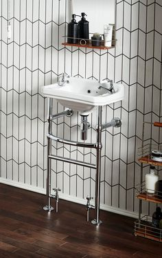 Love this basin towel rail and radiator combination! Perfect for the tiniest of NYC bathroom remodeling projects.