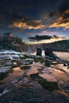 "Winter sunset at the ""Rheinfall"" - Hello everybody. I'm back from the Swiss Alps…"