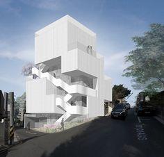 학동공원_mainImage Concept Architecture, Facade Architecture, School Architecture, Contemporary Architecture, Architecture Portfolio, Villa Design, Facade Design, House Design, Modern Townhouse
