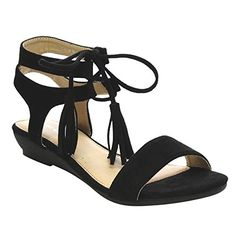6130ac45338 Via Pinky Arleen-12 Women s Front Lace Up Fringe Ankle Strap Low Heel  Sandals