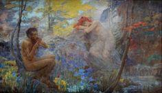 Faun a Nymfa by Robert Fowler (Scottish artist, Mermaid Art, Mystic, Folk, Artist, Nymphs, Painting, Euro, 19th Century, Popular